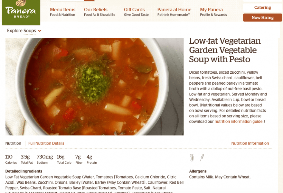 Panera Online Menu with Nutrition
