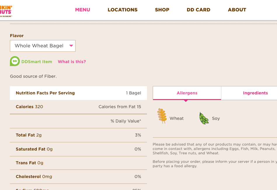 Dunkin Donuts Menu with Nutrition