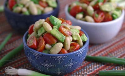 Avocado Tomato White Bean Salad, Salad with no Greens, easy healthy lunch ideas for work, easy lunch ideas, healthy lunch recipes, cheap lunch, easy lunches for work, packed lunch ideas, cold lunch ideas