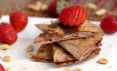 PBJ Quesadilla, healthy school lunch ideas, three ingredient recipes, 3 ingredient healthy recipes, easy 3 ingredient recipes, 3 ingredient meals
