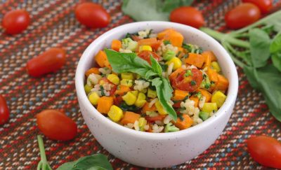 Rainbow Brown Rice Salad, easy lunches for work, packed lunch ideas, meal prep ideas, lunch ideas for kids