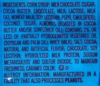 Almond Joy Ingredients