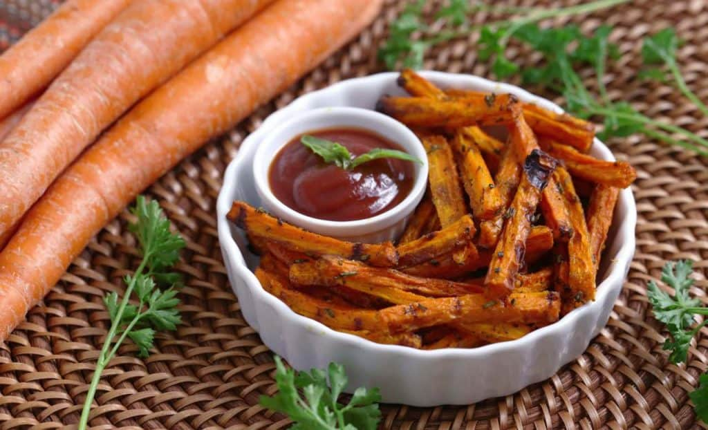 Vegetarian Meal Prep Recipes, baked carrot fries, easy healthy snack ideas, homemade veggie fries