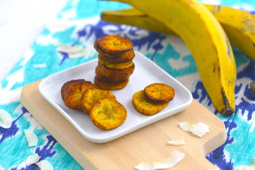 Vegetarian Meal Prep Recipes, plantain chips, pan fried plantains, easy vegetarian snack recipes