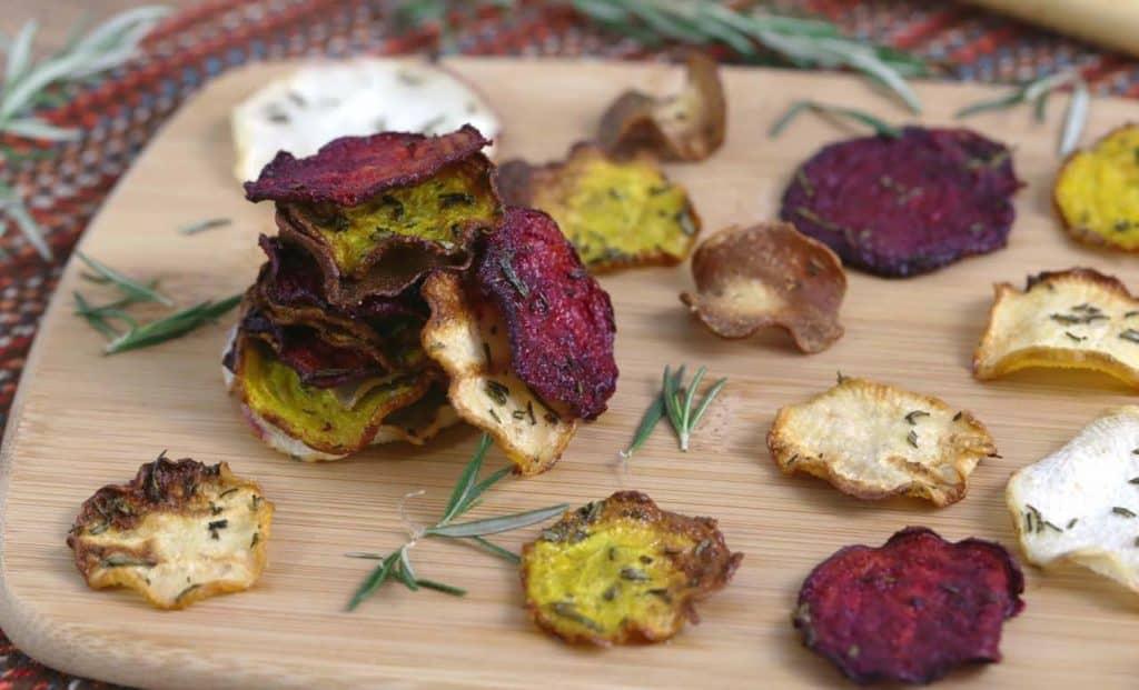 Vegetarian Meal Prep Recipes, root vegetable chips, easy healthy vegetarian recipes, vegetarian snacks