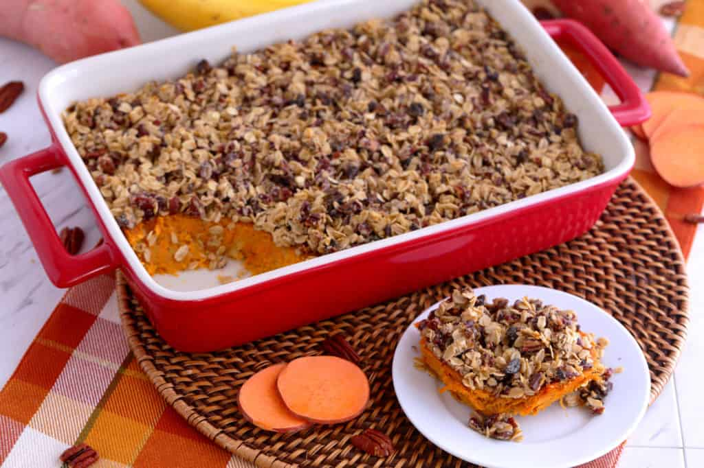 easy sweet potato casserole, healthy sweet potato casserole with pecans, thanksgiving sweet potato casserole, healthy sweet potato casserole recipe