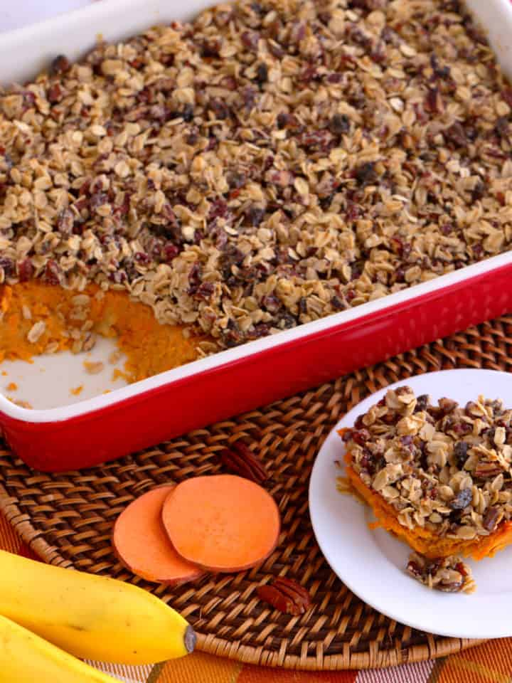 healthy sweet potato casserole with pecans, Healthy Sweet Potato Casserole with oatmeal topping, baked sweet potato casserole healthy, easy sweet potato casserole,