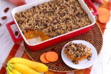 Healthy Sweet Potato Casserole recipe, baked sweet potato casserole healthy, easy sweet potato casserole, healthy sweet potato casserole with pecans