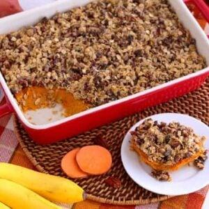 Healthy Sweet Potato Casserole recipe, baked sweet potato casserole healthy, easy sweet potato casserole, healthy sweet potato casserole with pecans