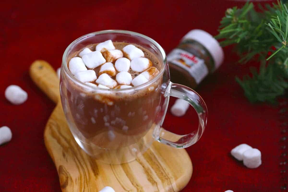 Nutella Hot Chocolate Recipe, how to make nutella hot chocolate, hot chocolate with nutella and milk, how to make nutella hot chocolate, hazelnut hot chocolate