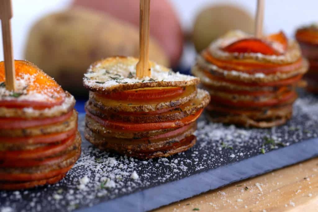 Crispy potato stacks recipe, russet and sweet potato stacks, potato gratin stacks