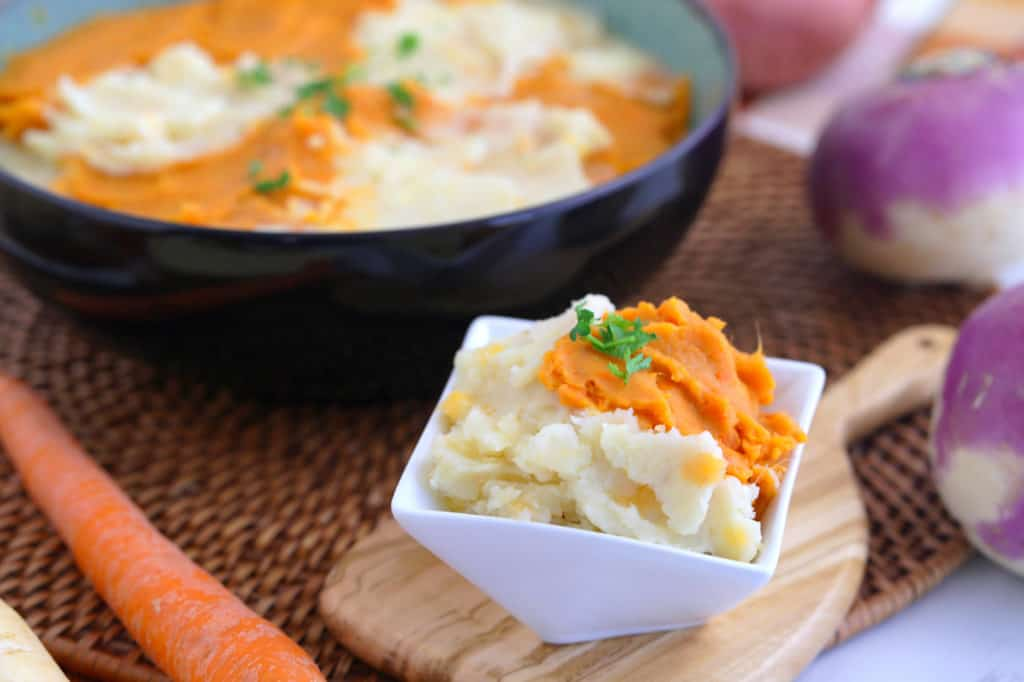 root vegetable mash recipe, parsnip turnip potato mash, sweet potato and turnip mash, healthy thanksgiving side dishes, mashed sweet potatoes, healthy mashed potatoes