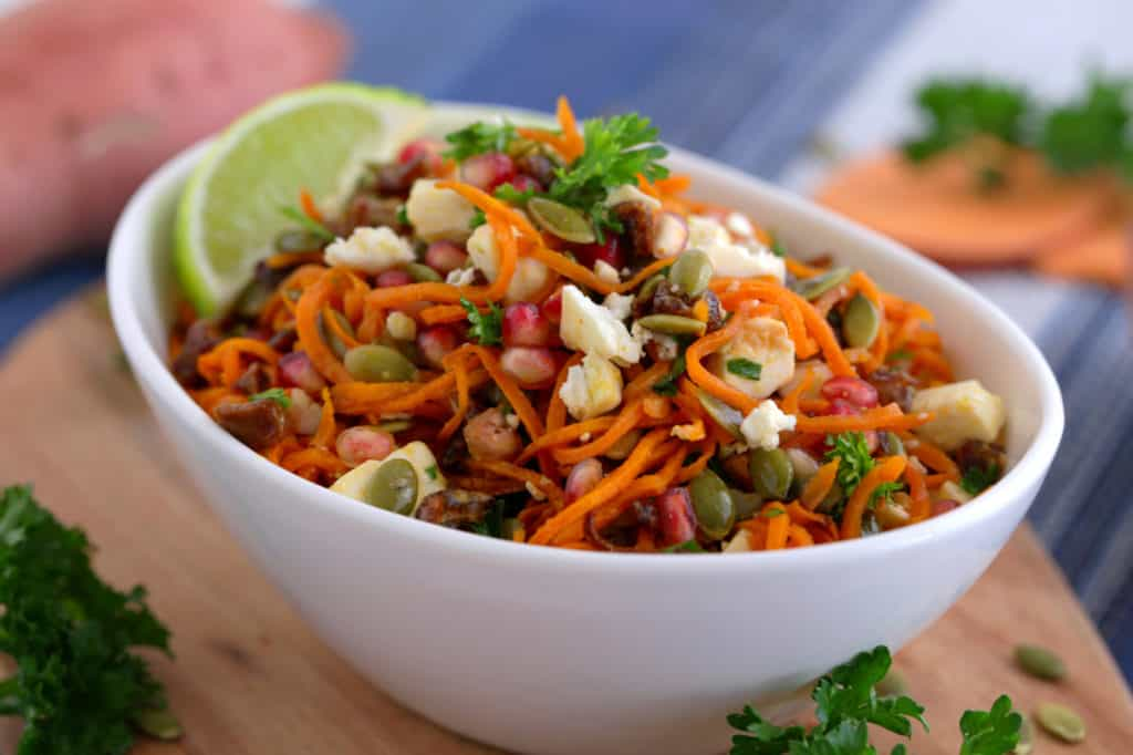 Cold Sweet Potato Noodle Salad recipe, spiralized salad, healthy thanksgiving side dishes, roasted sweet potato salad
