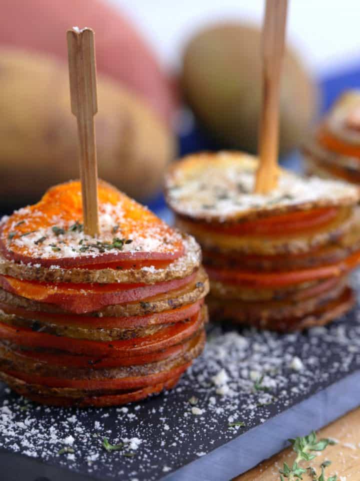 Parmesan Potato Stacks Recipe, healthy Thanksgiving appetizers