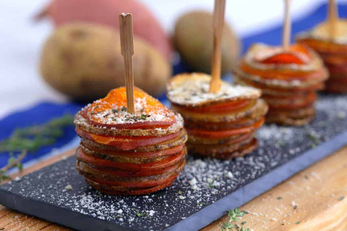 Parmesan Potato Stacks Recipe, healthy Thanksgiving appetizers