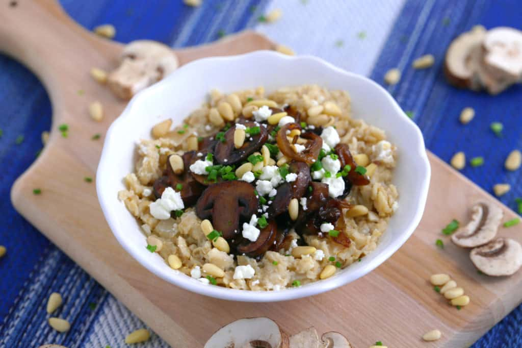 Caramelized Onion & Mushroom Savory Oatmeal, garlic porridge, goat cheese oatmeal, savory oatmeal recipes for dinner, savory oats recipe, savory oatmeal breakfast, what to eat for breakfast