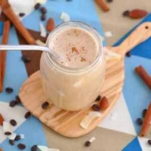 Cinnamon Almond Bulletproof Keto Shake, Low Carb Bulletproof Smoothie, ketogenic shake, keto breakfast shake, low carb shakes, keto friendly smoothies, keto almond butter smoothie, Bulletproof shake