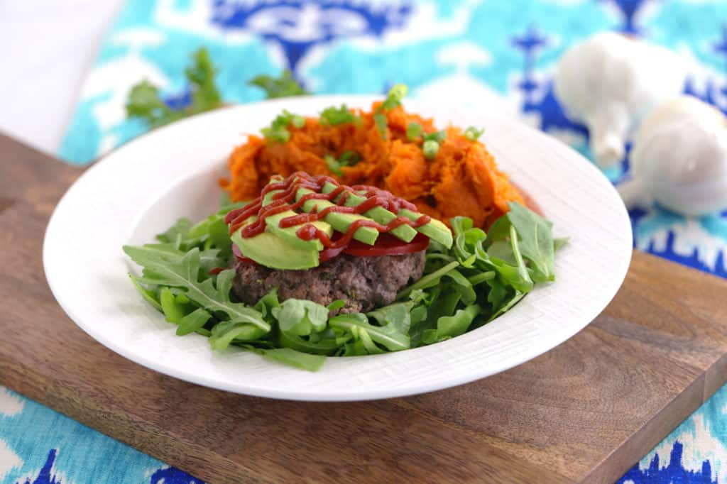 Paleo bison burger recipe, ground bison recipes, bison vs buffalo, bunless burger recipe, how to cook bison burgers, bison vs beef, gluten free burgers, paleo burger, mashed sweet potatoes paleo, paleo recipes