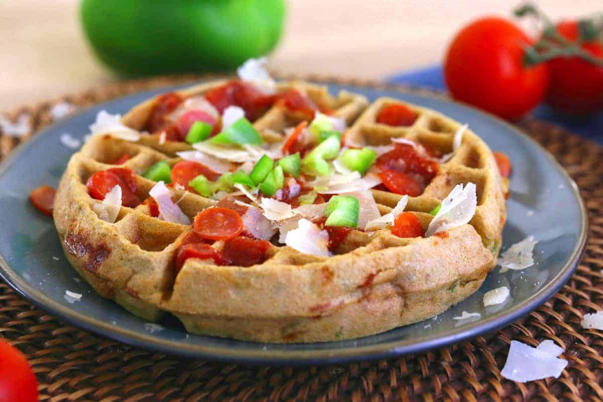 Pizza Waffles, gluten free waffles, healthy waffle recipe, savory waffle recipe, brown rice flour waffle, how to make gluten free waffles, waffle iron pizza