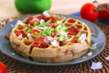 Gluten Free Pizza Waffles, savory waffles, dinner waffles, how to make healthy waffles, brown rice flour waffles, waffle maker pizza, easy waffle recipe