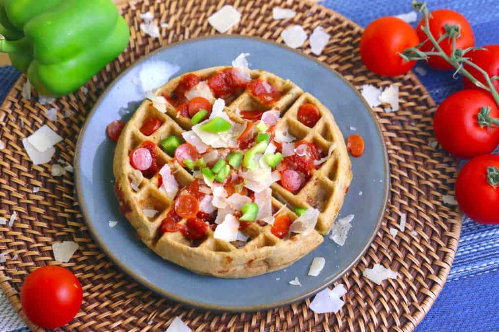 Pizza Waffles, gluten free waffle recipe, healthy waffle recipe, brown rice flour waffle, savory waffle toppings, waffle iron pizza, pizza flavored waffles