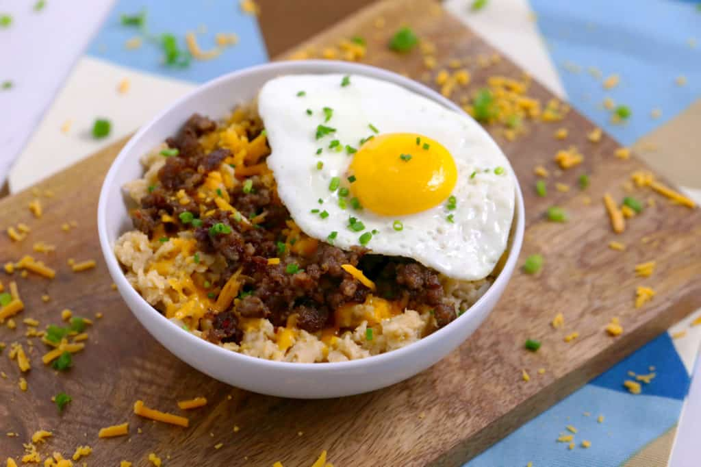 Sausage Egg Cheese Savory Oatmeal, oatmeal with fried egg, cheese oatmeal, oatmeal sausage, oatmeal mix ins, savory oatmeal egg sausage cheese, salty oatmeal, savory breakfast ideas