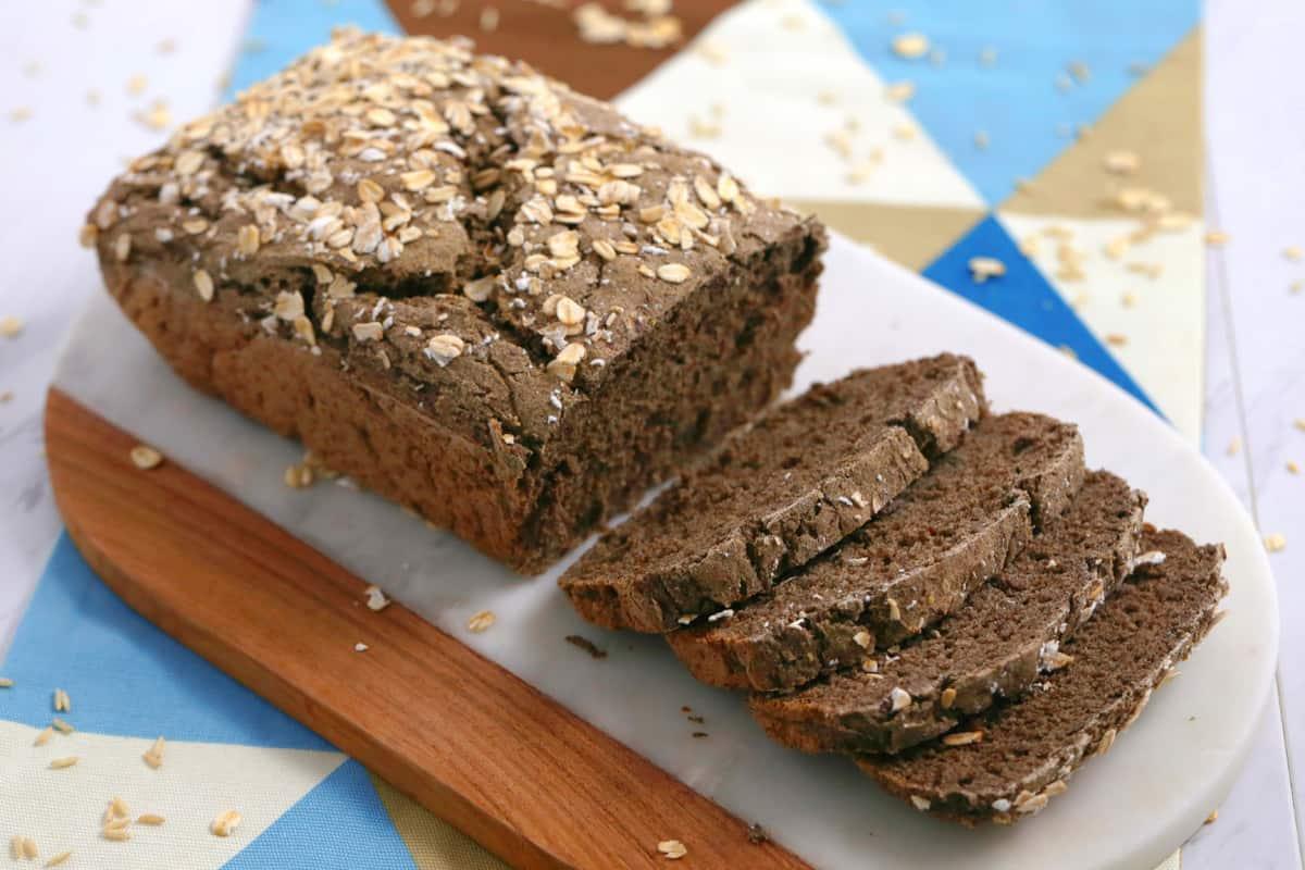 vegan bread recipe, gluten and egg free bread, vegan gluten free bread recipe, no knead gluten free bread, gluten free bread recipe without yeast, vegan gf bread, buckwheat bread, gluten free dairy free bread