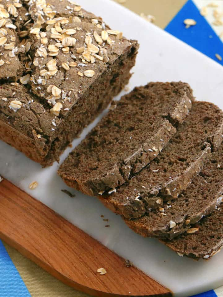 vegan gluten free bread, vegan bread recipe, vegan and gluten free bread, how to make vegan bread, gluten free bread recipe without yeast, rice flour bread, buckwheat flour bread, vegan gluten free oil free bread