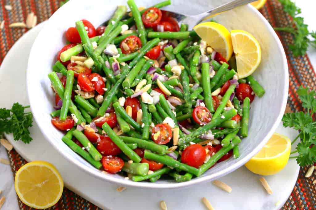 Asparagus Salad Recipe, asparagus salad with feta, asparagus and tomato salad, cold vegetable salad, healthy lunch meal prep, meal prep ideas, healthy lunches for work