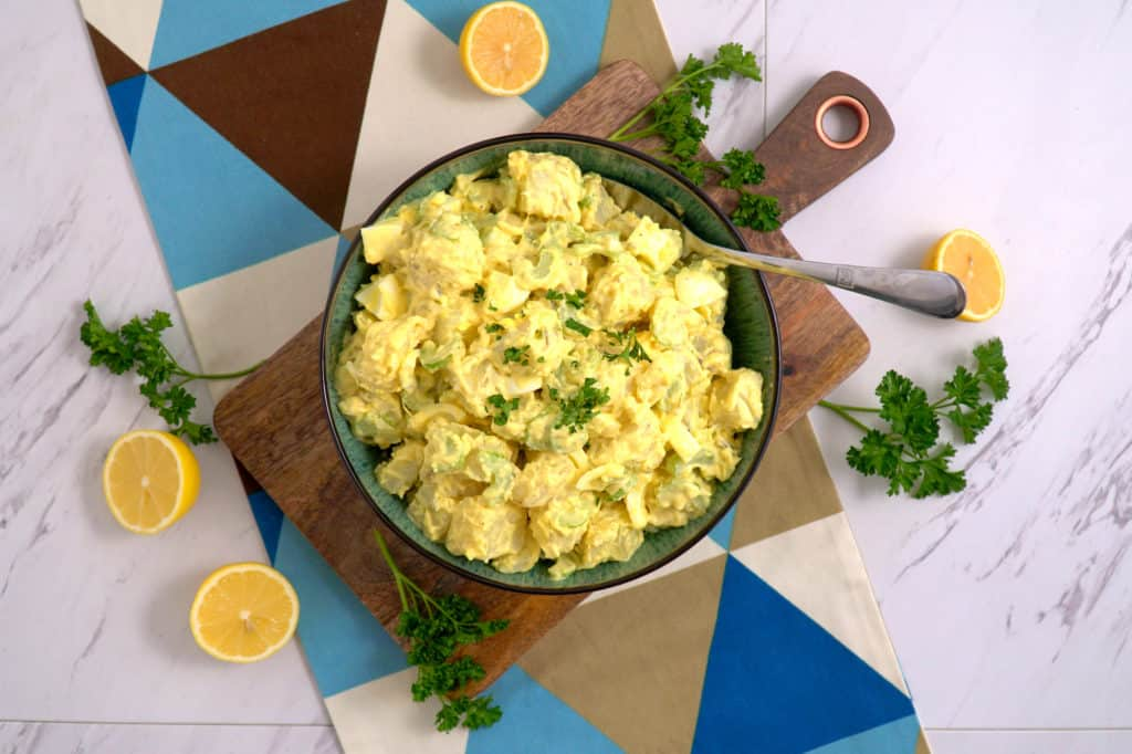 Healthy Potato Salad Recipe with Avocado Oil Mayo, homemade potato salad, homemade mayo avocado oil, healthy mayonnaise recipe, meal prep lunch ideas, cheap meal prep, healthy lunch ideas