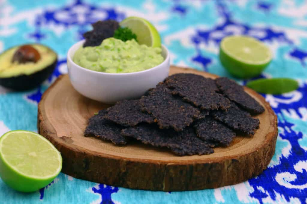 homemade black bean chips, bean chips, black bean chips recipe, how to make bean chips, black bean flour recipes, homemade vegan crackers, avocado dip recipe, creamy avocado dip, avocado dip for chips