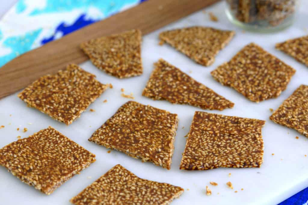 sesame brittle candy, sesame candy, crunchy sesame seed brittle, sesame seed snacks, healthy brittle recipe, homemade vegan candy, how to make healthy candy