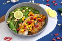 Parmesan almond crusted tilapia, skillet dinners, almond flour crusted tilapia, healthy dinners for two, how to cook tilapia on stove, tilapia dinner ideas, pan fried tilapia without flour, parmesan crusted tilapia, easy tilapia recipes
