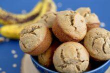 Oatmeal blender muffins for breakfast, healthy banana nut muffins, banana oatmeal muffins, gluten free banana muffins, flourless blender muffins, blender banana muffins, oatmeal breakfast muffins, healthy banana oatmeal muffins, banana bread muffins, easy oatmeal muffins