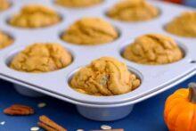 Oatmeal blender muffins gluten free, pumpkin muffins, healthy pumpkin oatmeal muffins, pumpkin blender muffins, flourless blender muffins, gluten free dairy free pumpkin muffins, healthy oatmeal muffins for breakfast, healthy pumpkin muffins with applesauce, healthy muffins