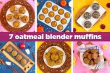 Healthy oatmeal blender muffins, flourless blender muffins, how to make healthy muffins without flour, gluten free breakfast muffins, oatmeal muffins no flour, blender breakfast muffins, healthy no flour muffins, meal prep breakfast ideas, easy breakfast, easy muffins