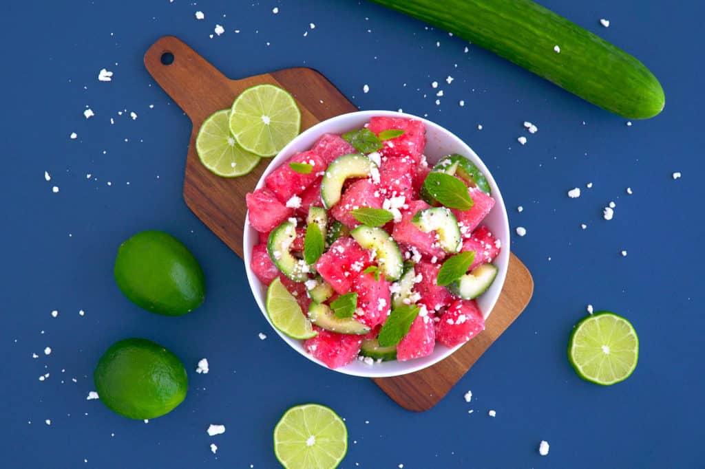 Light summer meals, refreshing watermelon cucumber salad, watermelon cucumber mint salad, Domestic Geek salad, Healthy Meals Made Easy, Sara Lynn cookbook, The Domestic Geek recipes, vegetarian summer meals, simple summer recipes, easy meals to make