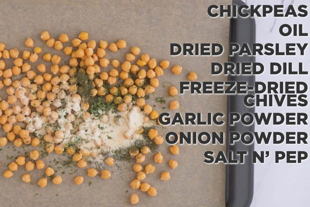 Vegan Ranch Roasted Chickpeas, roasted chickpeas snack, healthy snack ideas, crispy ranch chickpeas, how to roast canned chickpeas, healthy snacks, road trip snacks, crispy garbanzo beans, ranch flavored chickpeas, healthy road trip snack ideas