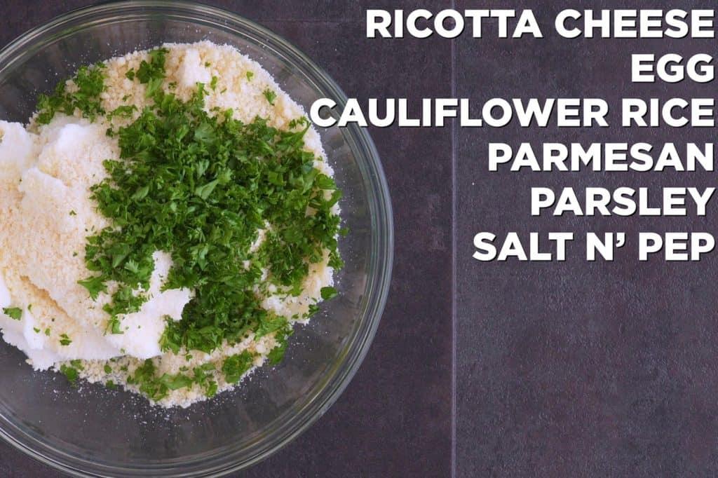 Ricotta and cauliflower rice mixture