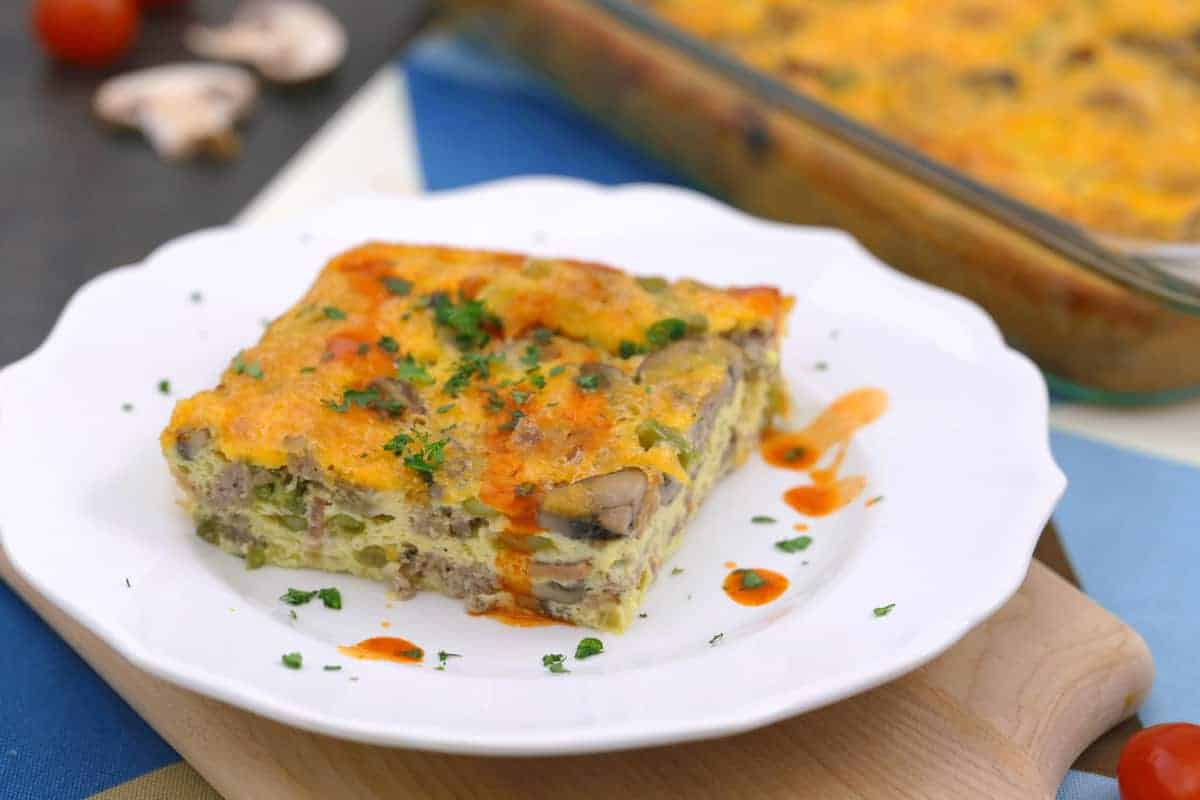 Keto Egg Casserole with Sausage and Bacon