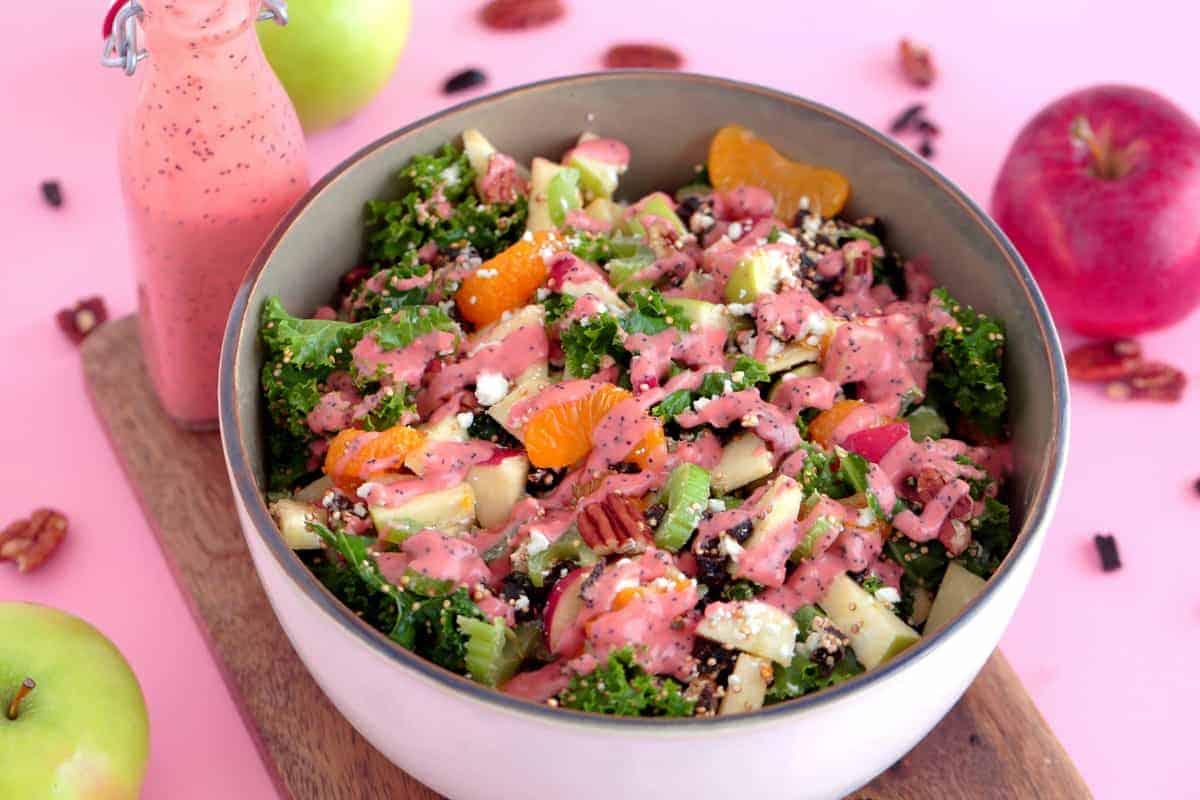 Kale Quinoa Salad with Feta Apples and Pecans