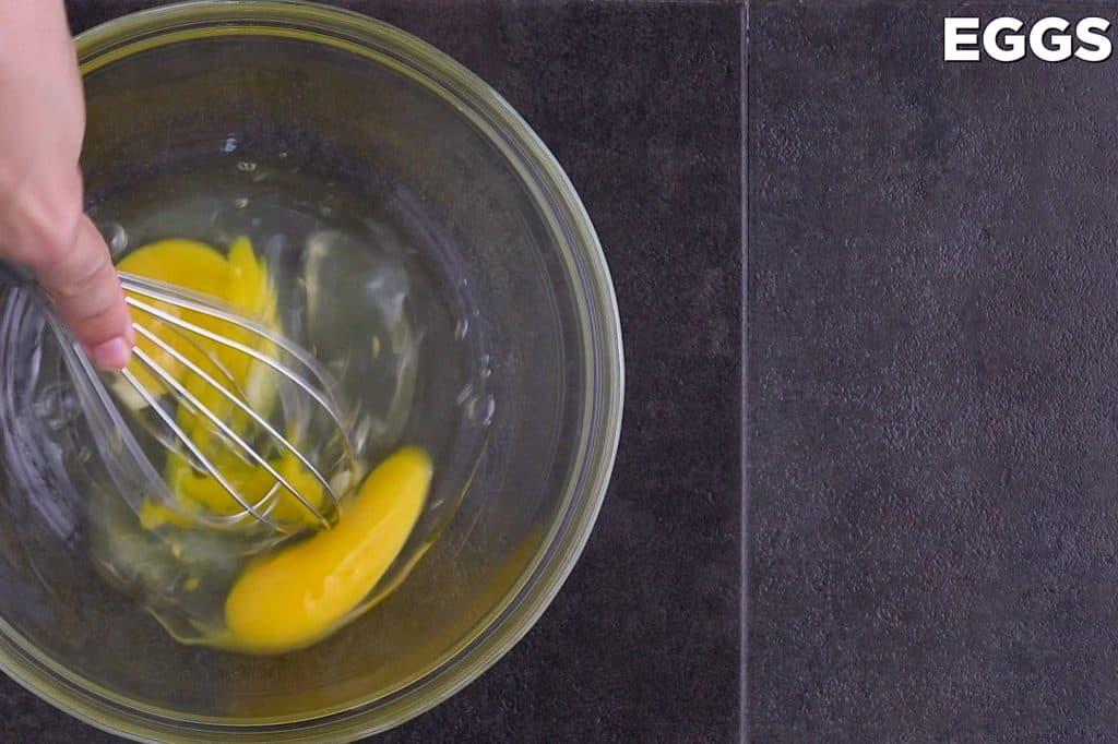 Whisk Eggs for Fried Pork Chops Wet Dredge