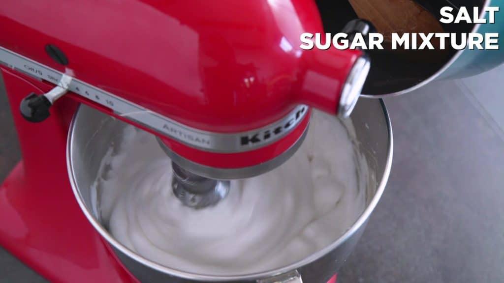 Combine hot agar agar syrup mixture and aquafaba marshmallow mixture