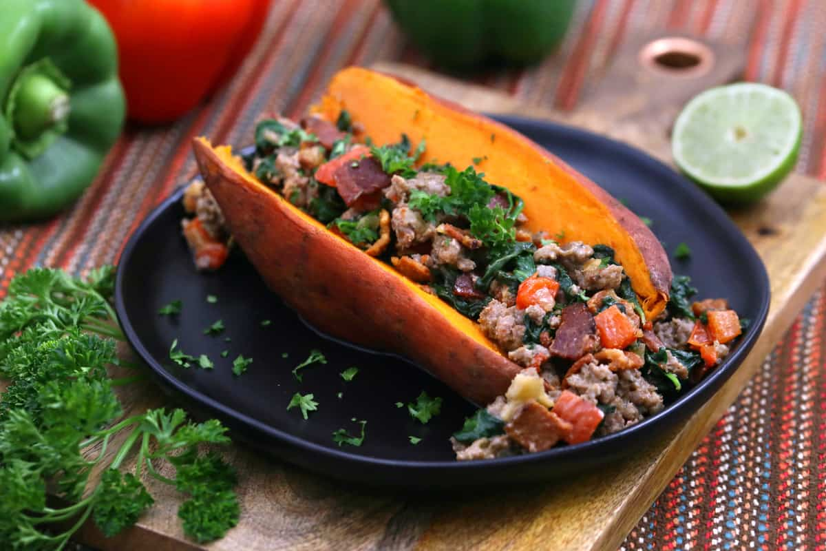 Sausage Stuffed Sweet Potatoes