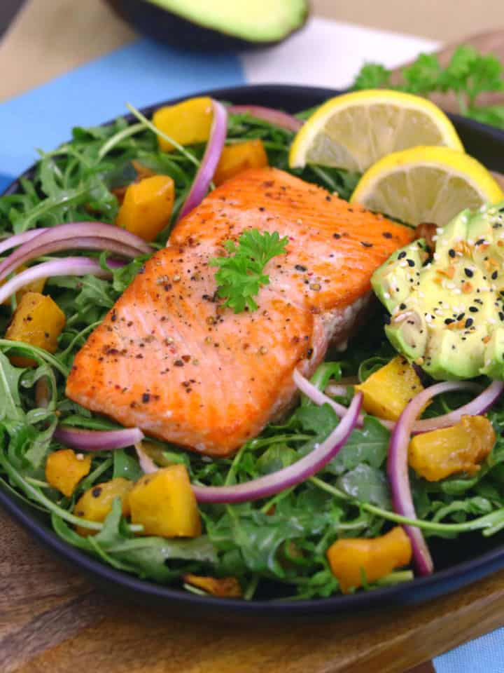 Crispy Pan Seared Salmon Salad