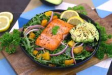 Crispy Pan Seared Salmon Arugula Salad