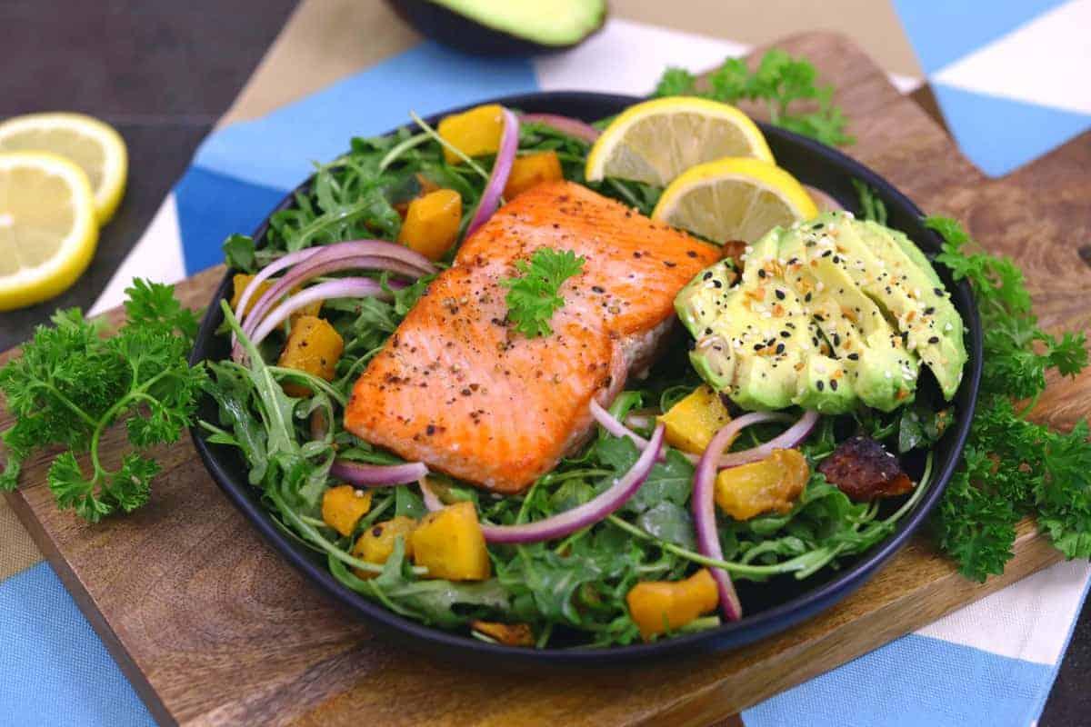 Crispy Pan Seared Salmon Salad