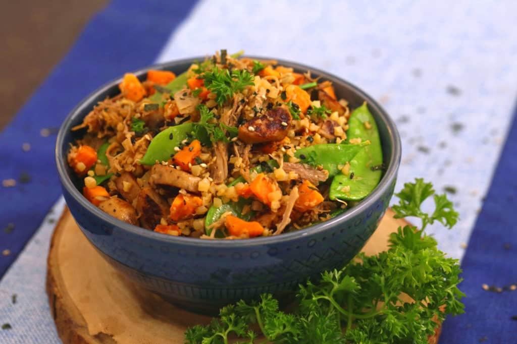 Cauliflower Pork Stir Fry Bowl
