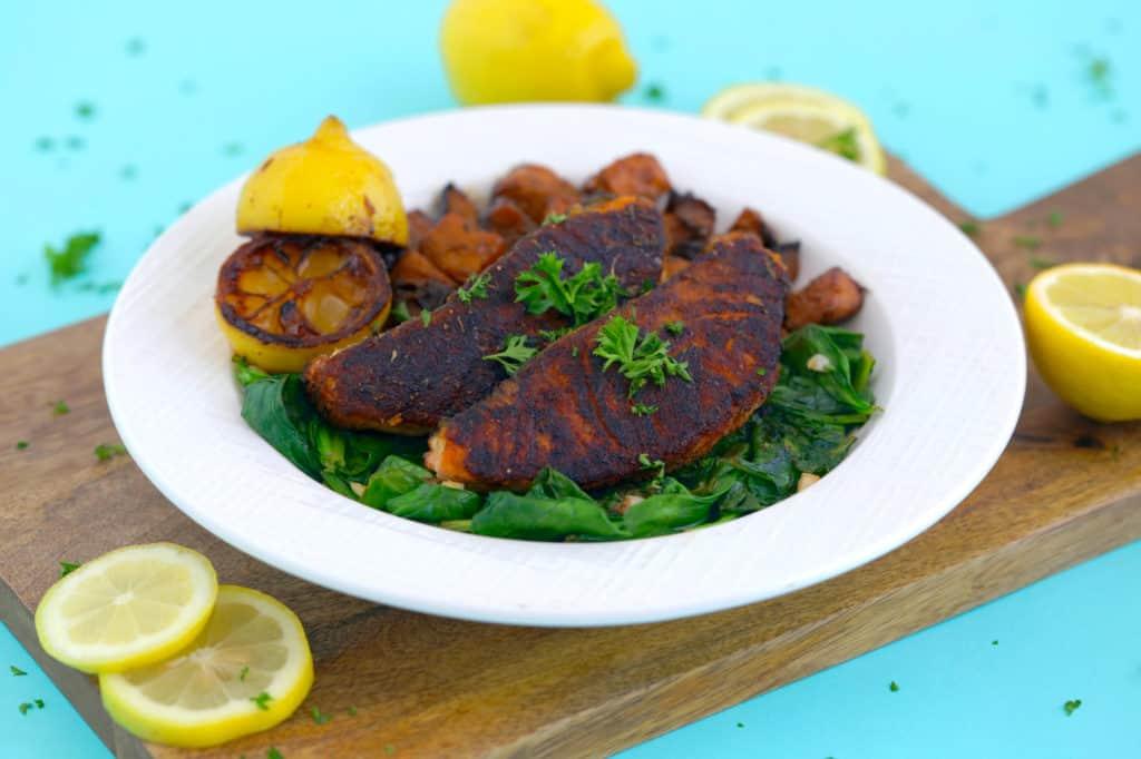 Healthy Blackened Salmon Dinner