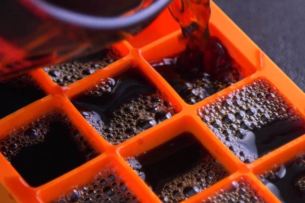 Freeze coffee ice cubes overnight